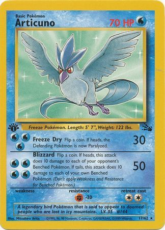 Articuno 17 62 Rare 1st Edition Fossil 1st Edition