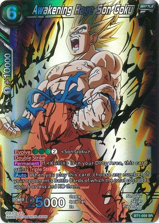 Awakening Rage Son Goku Bt1 059 Super Rare Dragon