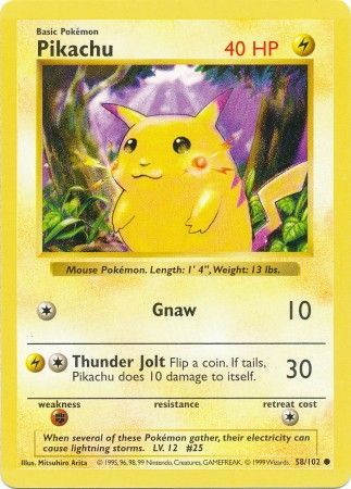 Pikachu Red Cheeks 58 102 Misprint Shadowless